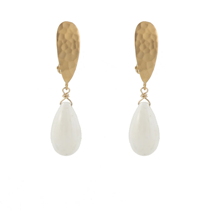 White Coral Teardrop Clip On Earrings
