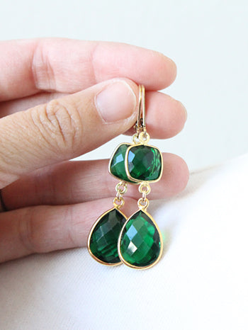 Emerald Green Earrings, gold plate