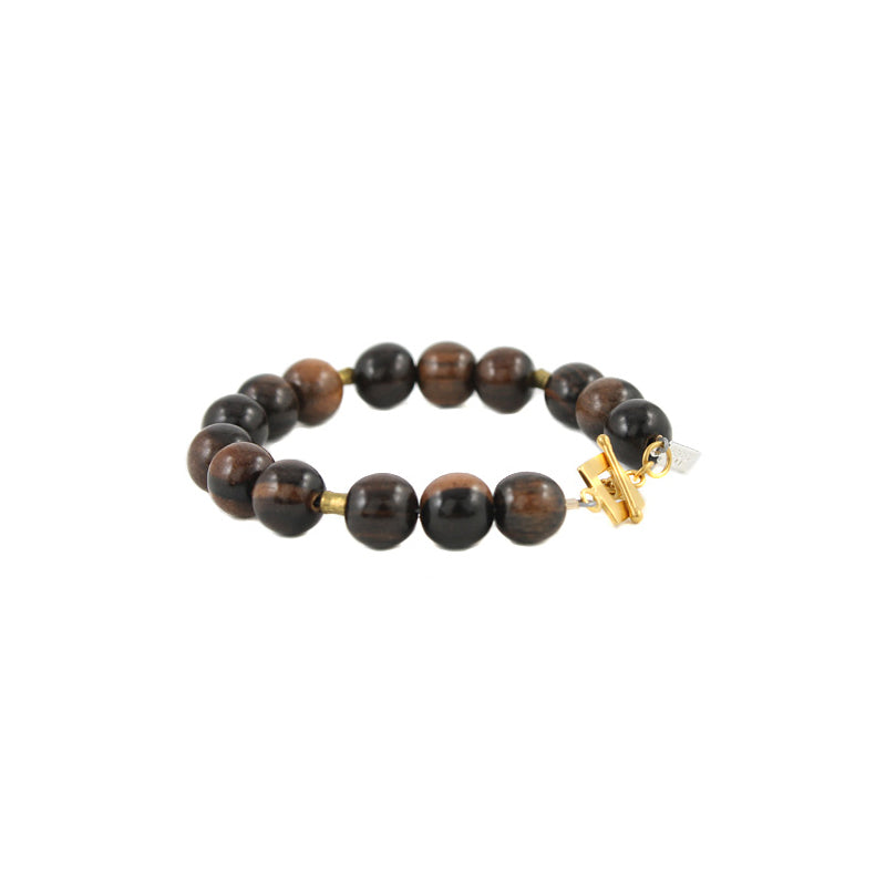 Warm Wood Bead Bracelet