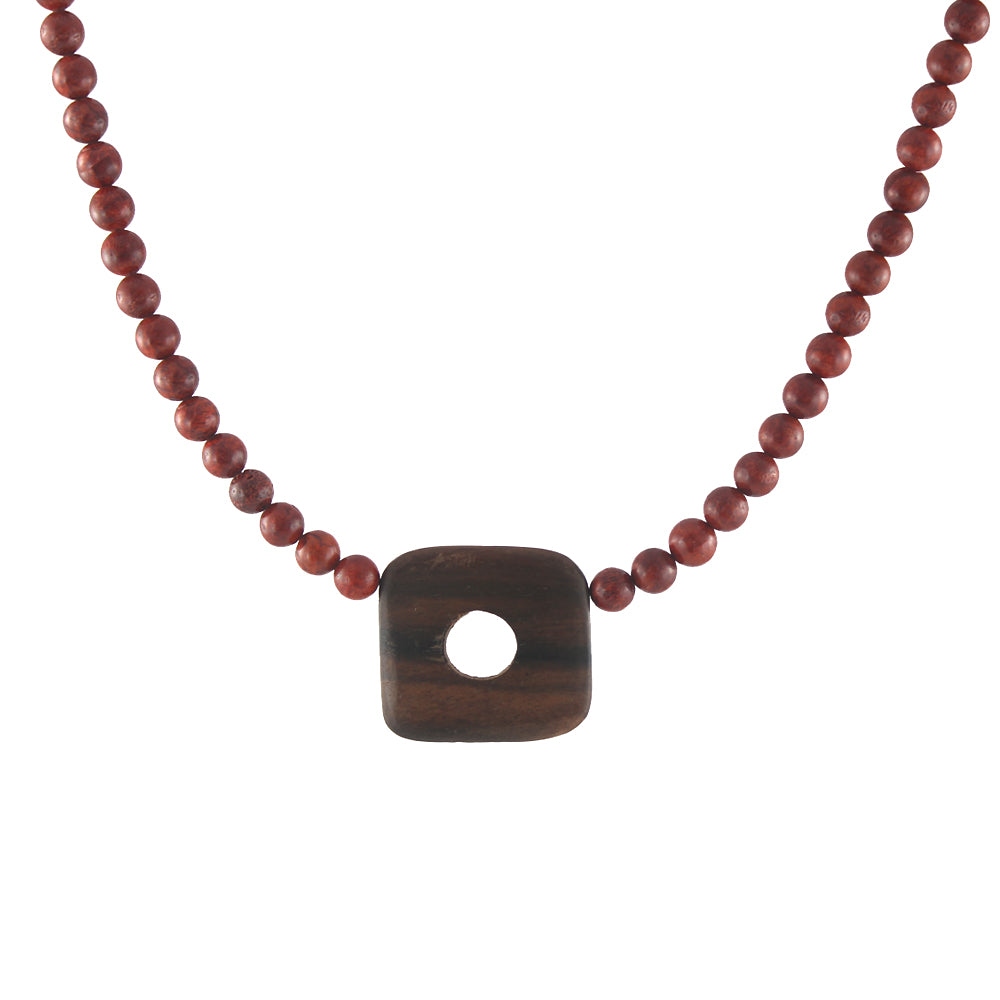 Wood and Coral Necklace