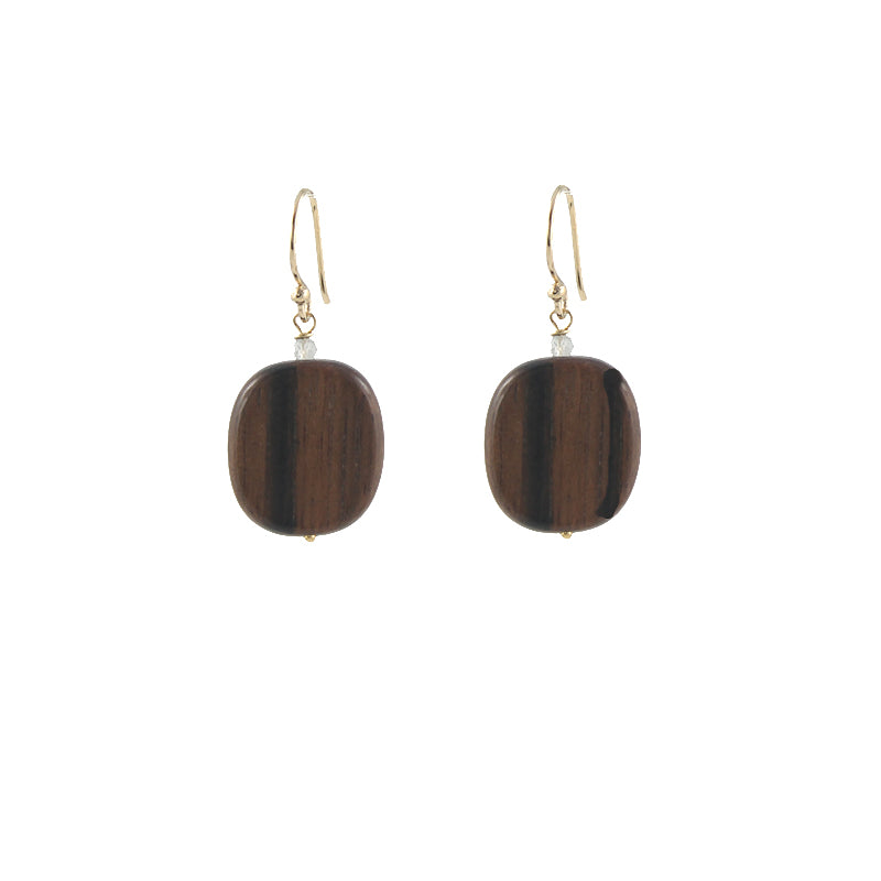 Wooden Wonder Earrings, gold plate