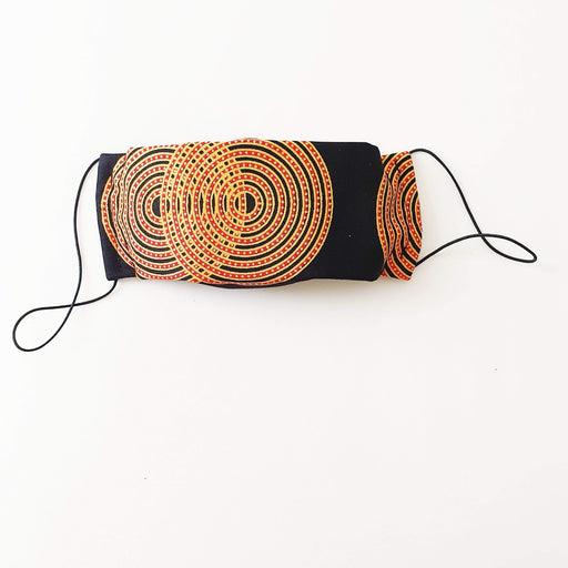 Afropuff Ltd, African print orange and black face mask