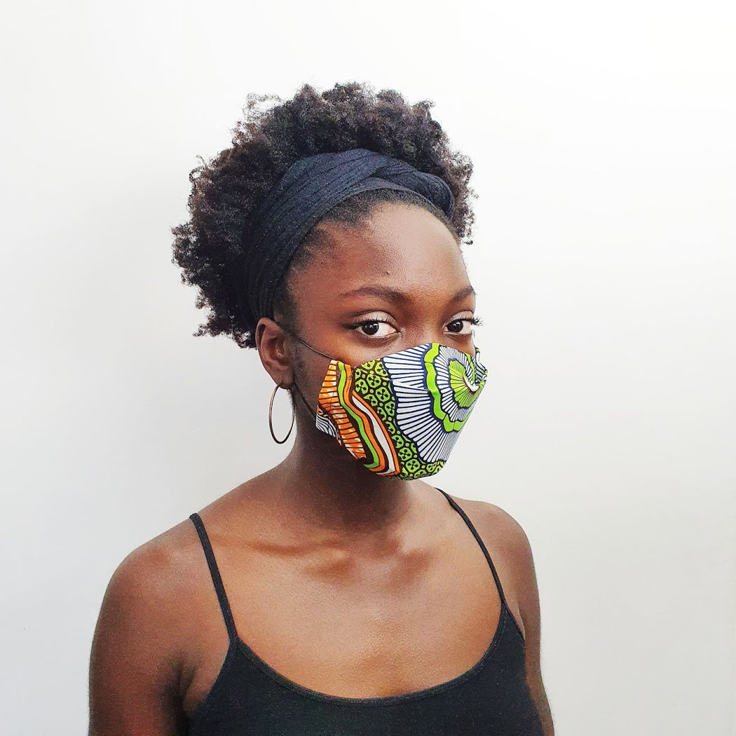 Afropuff Ltd, African print green and orange face mask
