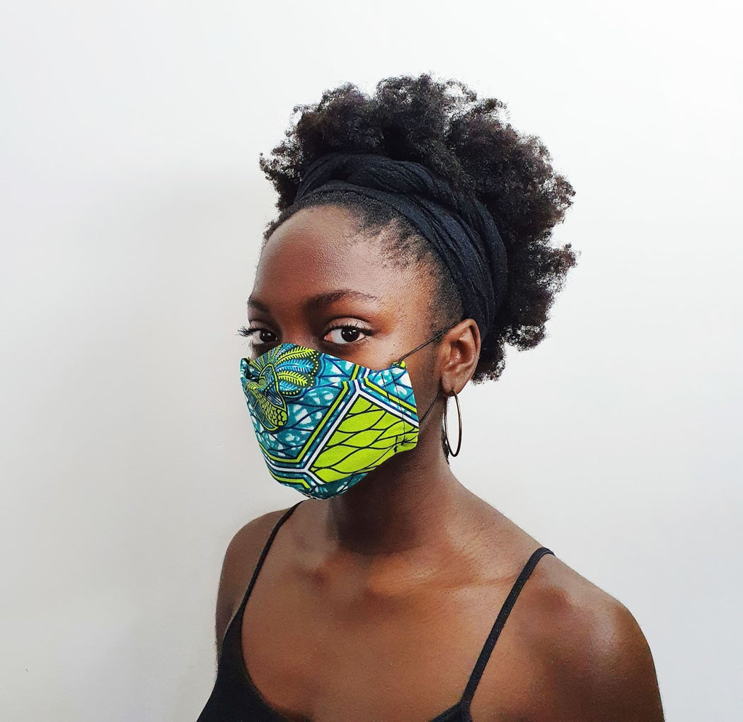 Afropuff Ltd, African print green and blue face mask