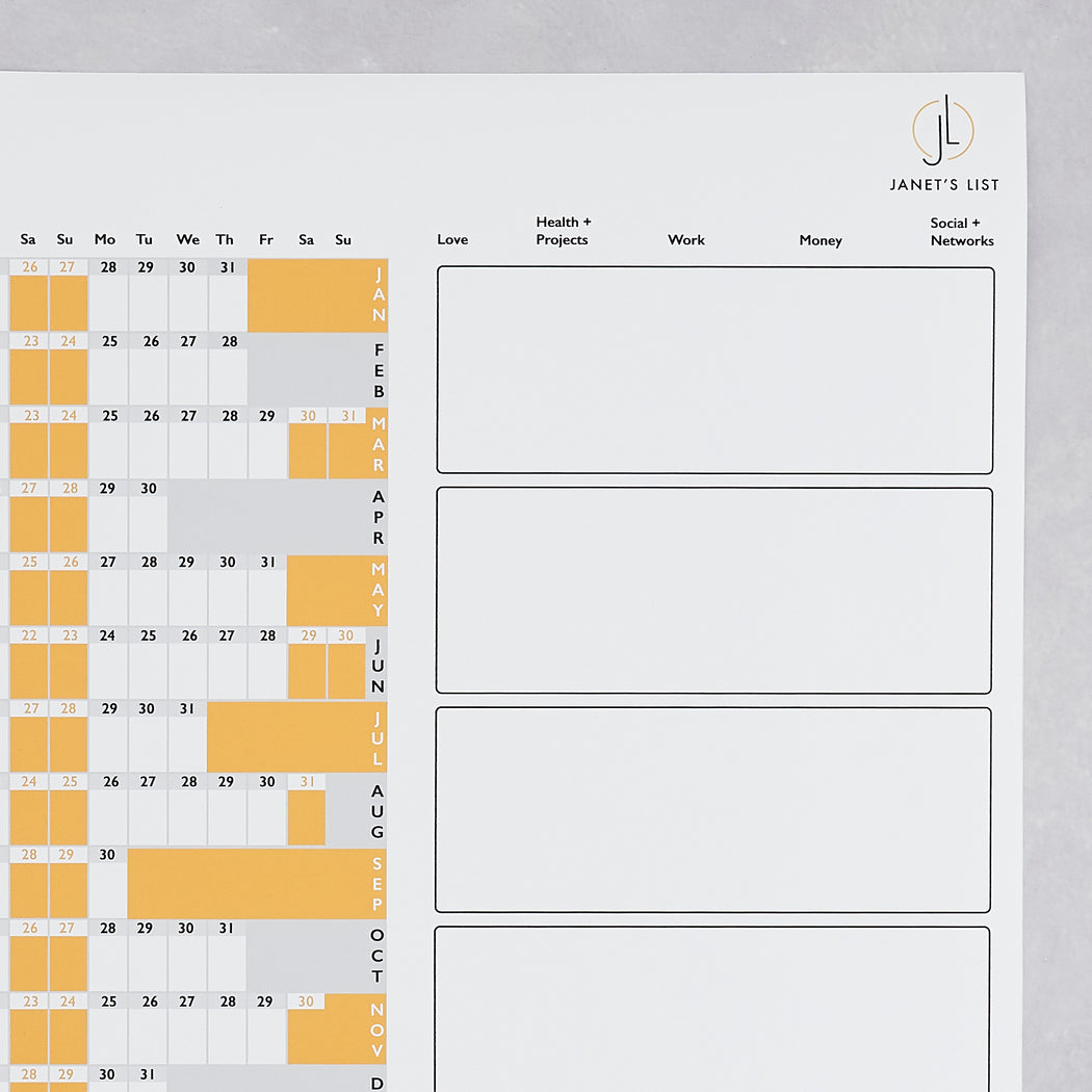 Janet's List, 2019 productivity wall planner