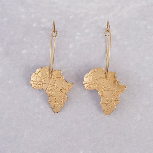 Ahima Jewellery, African map hoop earrings