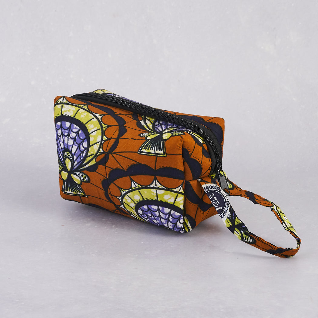 Nalu Afrika, Brown Wax Print Cosmetic Bag