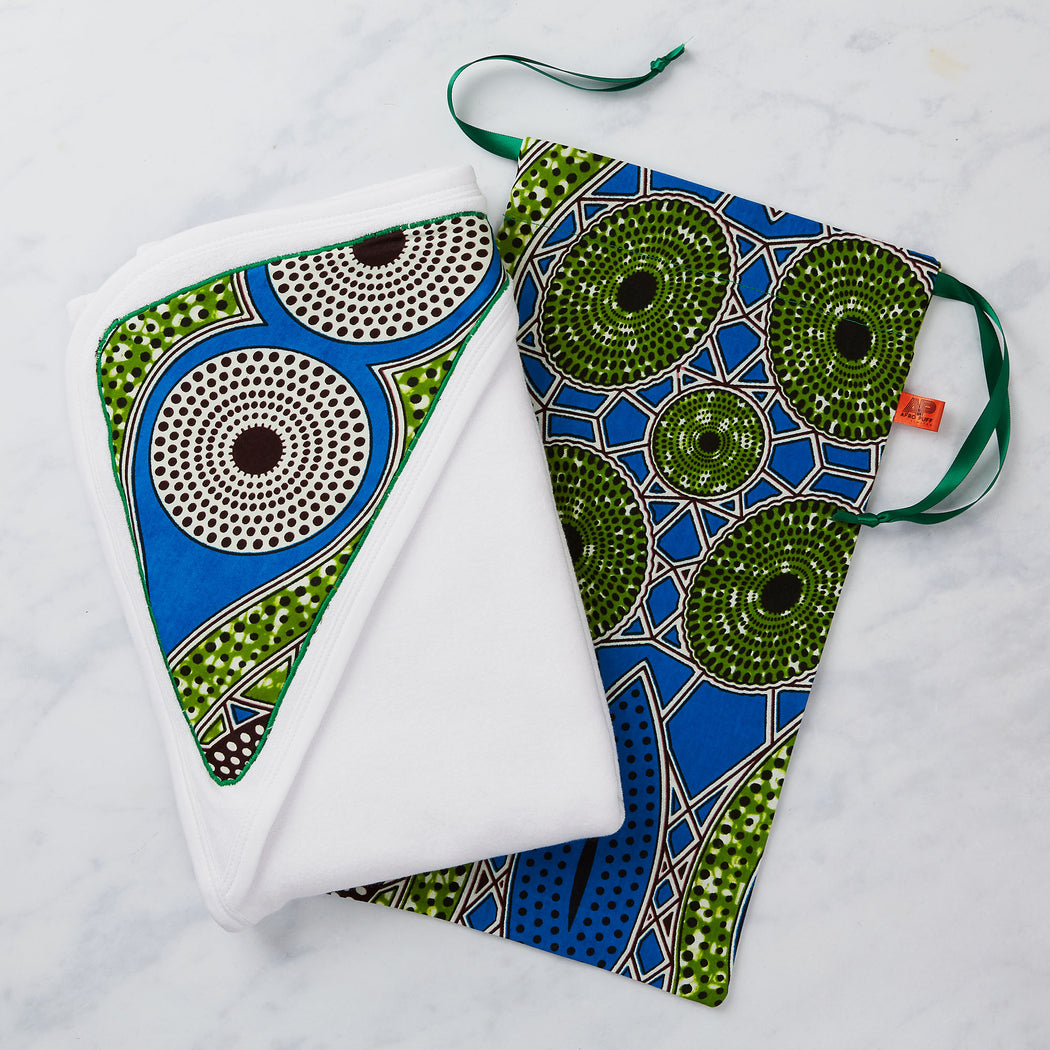 Afropuff African Print Baby Towel Gift Set - Blue and Green