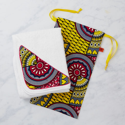 Afropuff African Print Baby Towel Gift Set - Pink and Yellow