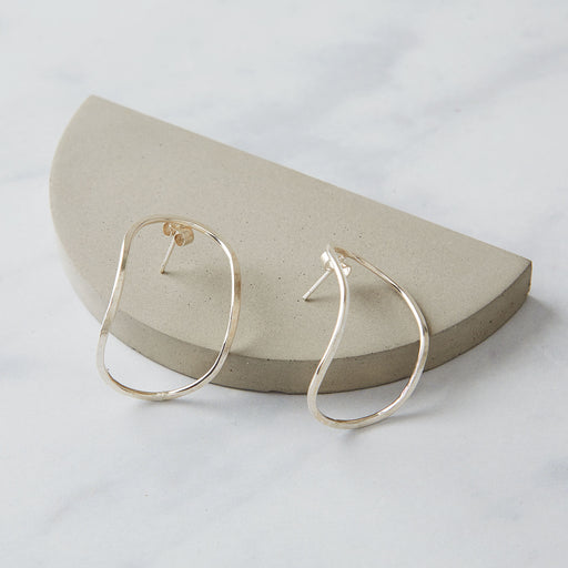 Ange B Designs, Contemporary 'Sculpt' Silver Hoop Earrings