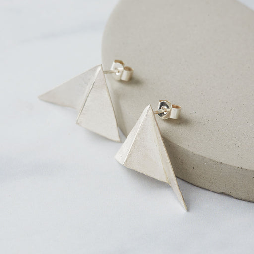 Ange B Designs, Architectural Origami Silver Stud Earrings