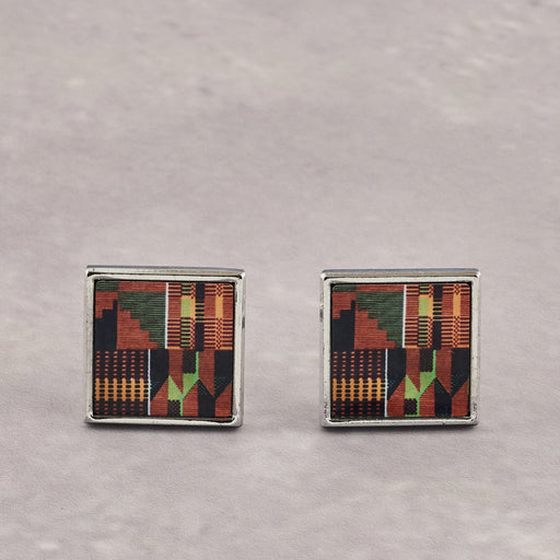 Colourshot Cards, Orange Kente Cufflinks