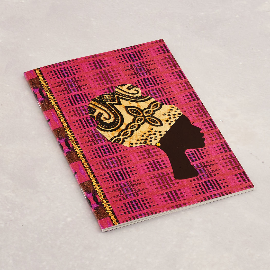 Colourshot Cards, Pink Kente Lined Notebook