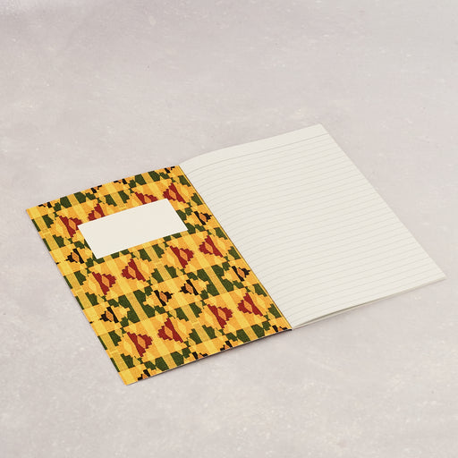 Colourshot Cards, Yellow Kente Lined Notebook