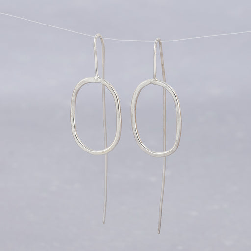 Ange B Designs, Silver Oval Threader Earrings