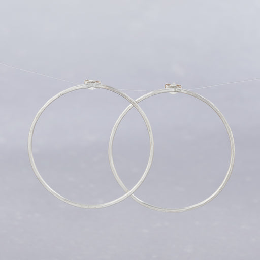 Ange B Designs, Silver Floating Hoop Earrings