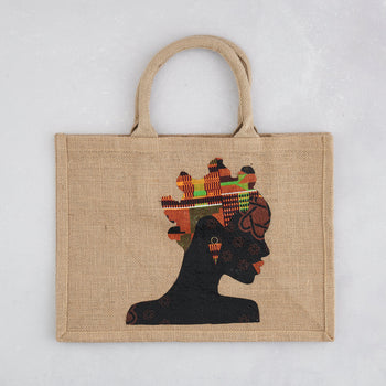 Colourshot Cards, Jute Shopping Bag, (Bantu Knot)