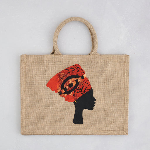Colourshot Cards, Jute Shopping Bag, (Orange Headwrap)