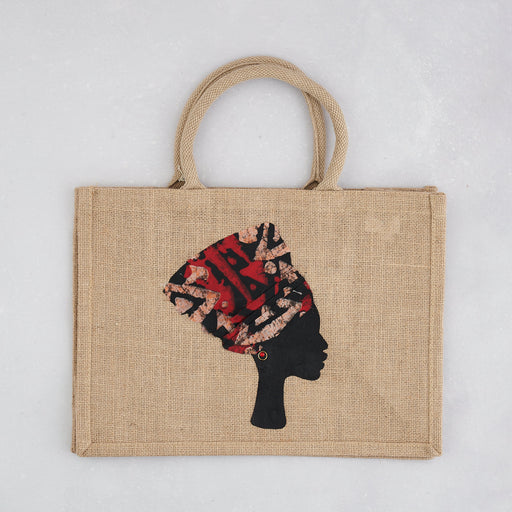 Colourshot Cards, Jute Shopping Bag, (Red/Purple Headwrap)