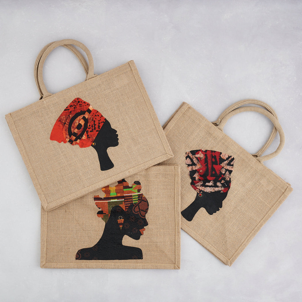Colourshot Cards, Orange Headwrap Jute Shopping Bag