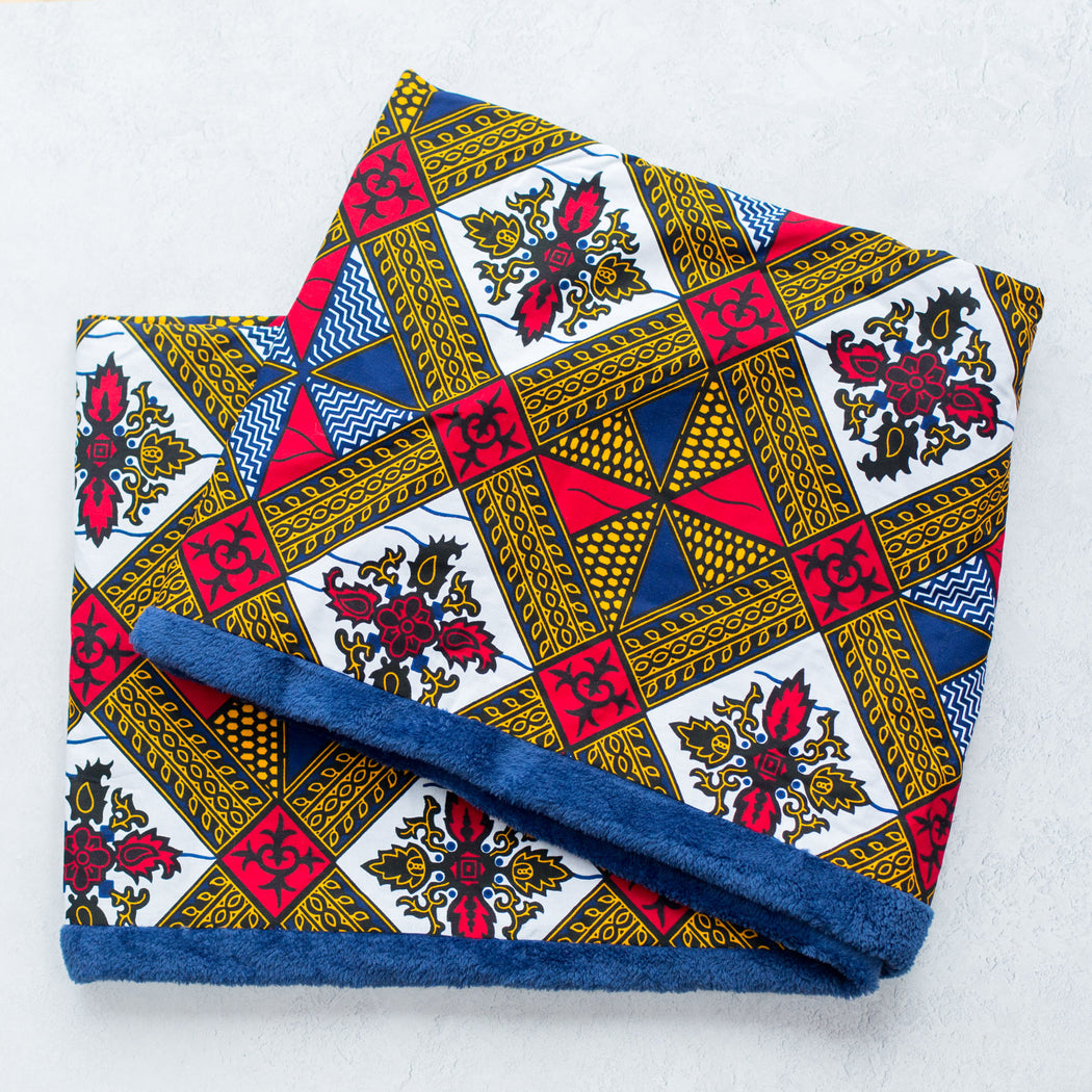Nalu Afrika, Infinity African print scarf with blue fleece lining (snood)