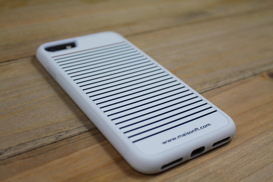 Coque iPhone Marinière Blanche - Made in France