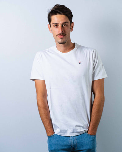 T-shirt HOMME simple blanc - COTON BIO T-shirt bio - Maison FT made in France ou Bio