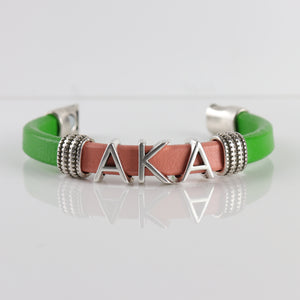 "Alpha Kappa Alpha Leather bracelet -  ""SANDZ"" RG"