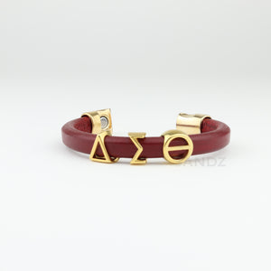 Leather Delta Sigma Theta bracelet with gold plated greek letters ΔΣΘ, Delta Sigma Theta Gifts, DST, www.thesandz.com