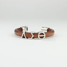 "Delta Sigma Theta ""Prophyte"" natural tobacco color leather bracelet"