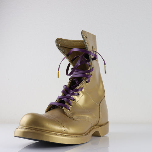 Royal Purple leather laces with Goldplated lace tips embossed with ΩΨΦ /  Omega Psi Phi