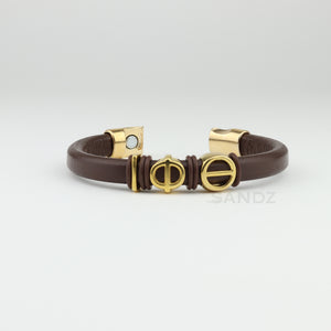 "Iota Phi Theta leather bracelet - ""Prophyte"" Charcoal brown"