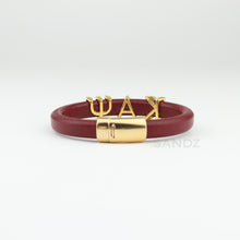 "Kappa Alpha Psi  leather bracelet -""Prophyte"" Crimson"