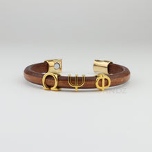 Leather Omega Psi Phi bracelet with gold plated greek letters ΩΨΦ, Omega Psi Phi gifts, Da Bruhz, Omega Man www.thesandz.com