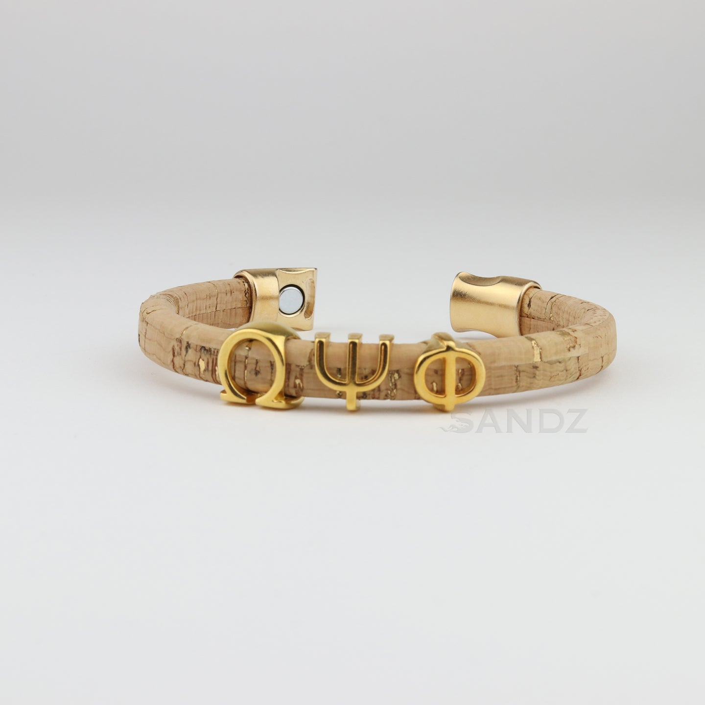 Omega Psi Phi natural cork bracelet