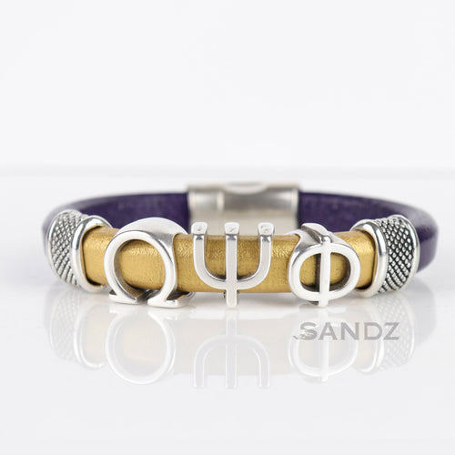 Omega Psi Phi leather bracelet