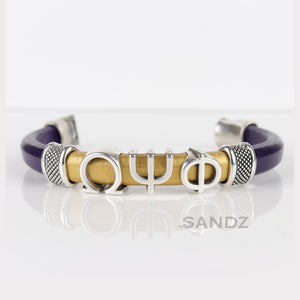 "Omega Psi Phi leather bracelet ""SANDZ"" 7RD - Silver"
