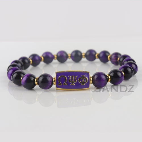 Omega Psi Phi Purple Tiger Eye stone bead bracelet