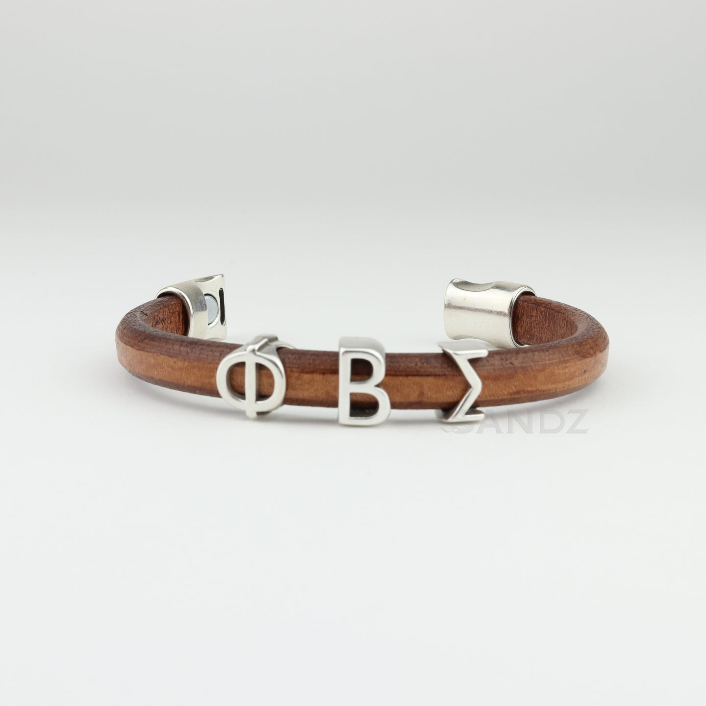 Phi Beta Sigma natural colored leather bracelet