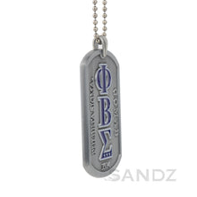 Phi Beta Sigma Fraternity Dog Tag Medallion , embossed Greek letters with engraved motto and founding year 1914