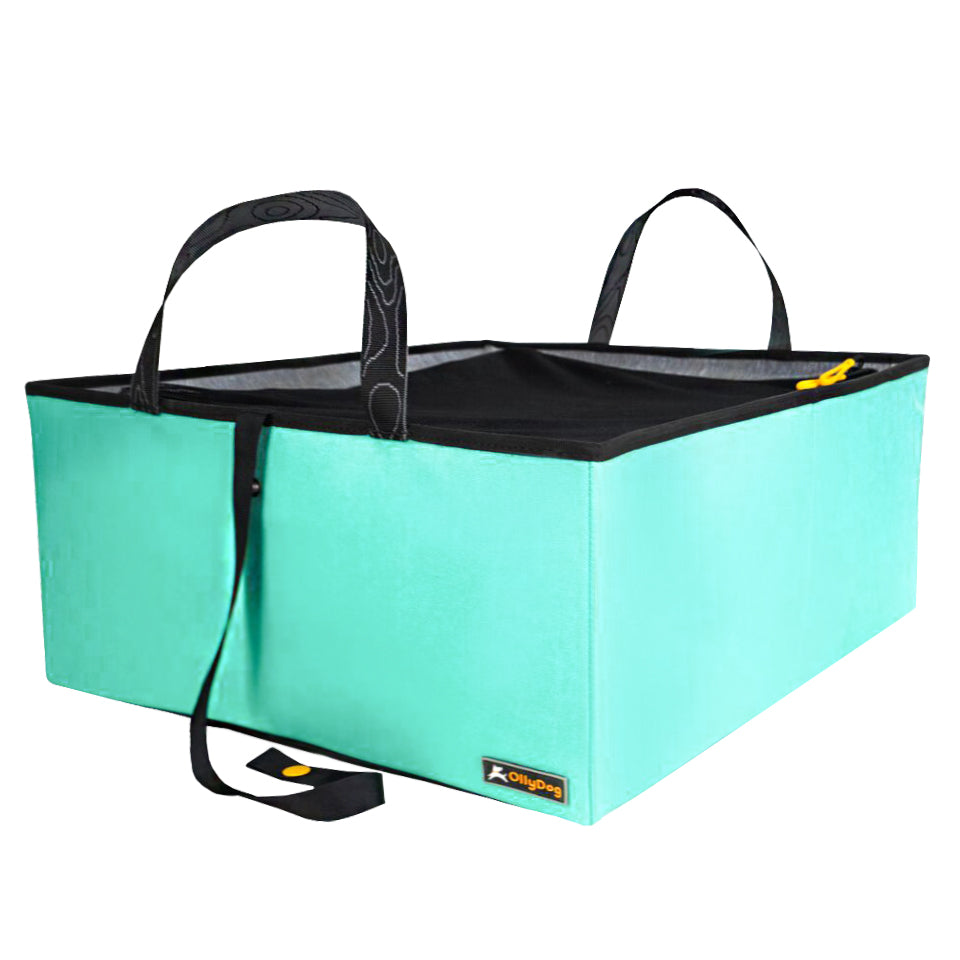 recycled materials, collapsible dog accessories, collapsible trunk for dog,  durable and non-toxic materials, dog accessories