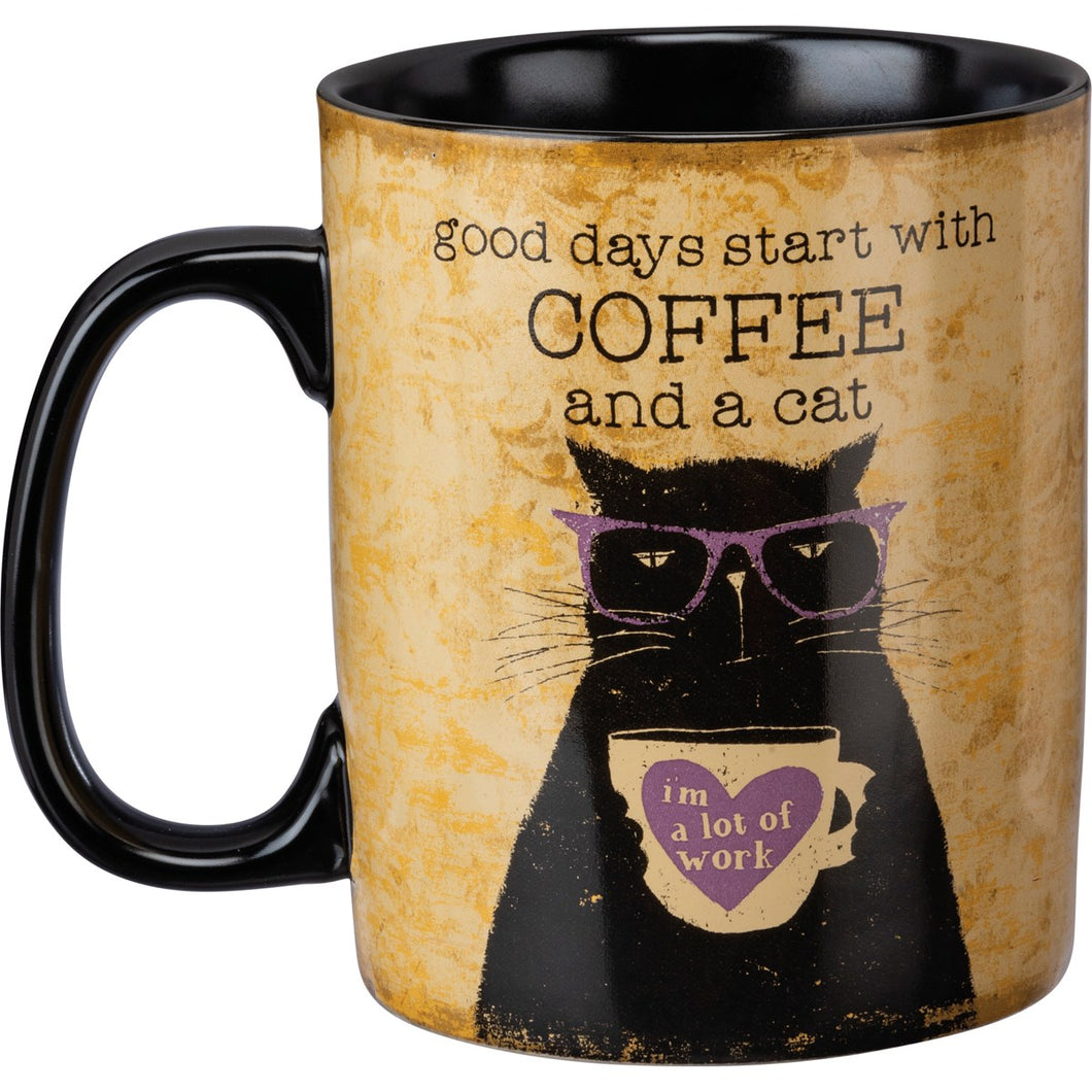 Good Days Start with Coffee and a Cat Stoneware Mug