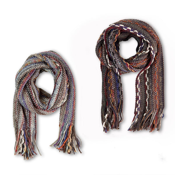 Knit multi-colored scarf with fringe - Smockingbird's
