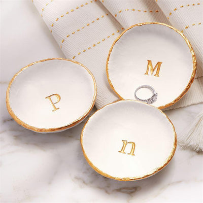 Mud Pie Initial Trinket Tray with gold initial - Smockingbird's