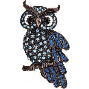 Bronze Blue Crystal Owl Pin with Magnetic Closure - Smockingbird's