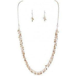 Multi Metal Tiny Drops Necklace and Earring Set - Smockingbird's