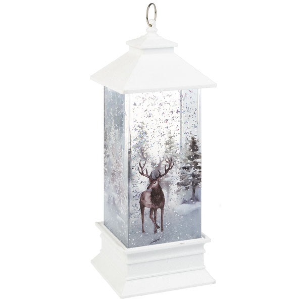 White Glitter Light up Shimmer Lantern with Deer - Smockingbird's