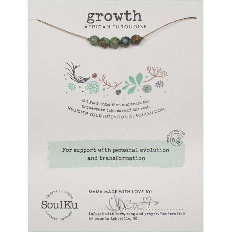 African Turquoise Intention Necklace for Growth - Smockingbird's