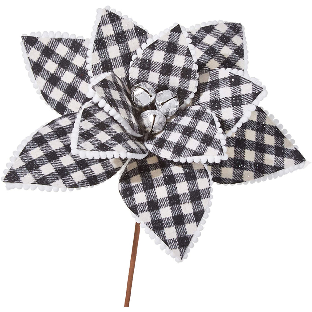 Checked Black and White Poinsettia Decorative Floral Pick - Smockingbird's