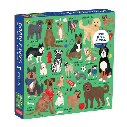 Doodle Dogs and Other Mixed Breeds 500 Piece Puzzle - Smockingbird's